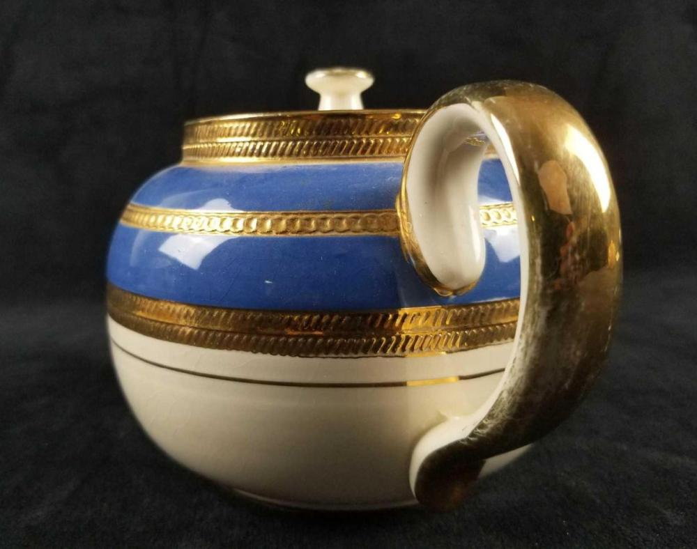 Lot 880: Vintage Sadler England Navy and Gold Painted Teapot And Sugar pot