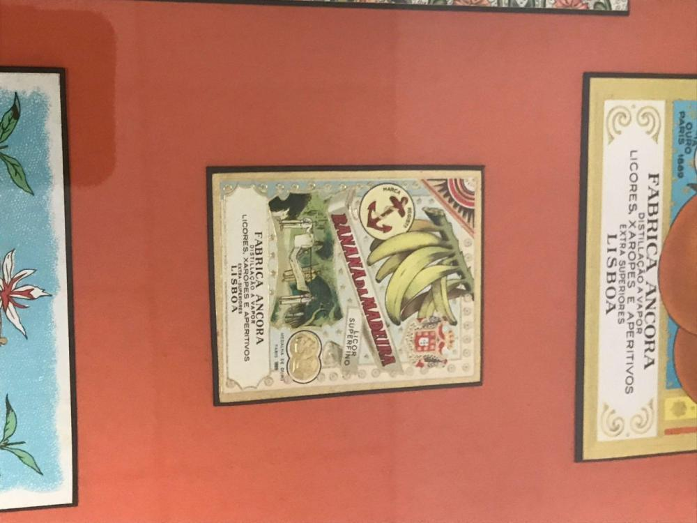 Lot 884: Framed Vintage Fabrica Ancora Liqueur Labels