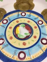 Lot 888: Hand-painted Seder Plate and Bowls by Lotus Marked