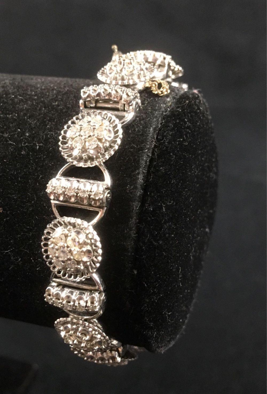 Lot 896: Vintage Hand-made Ladies Bracelet by Jabel Showing Diamonds Set in 18K White Gold Circa 1950s
