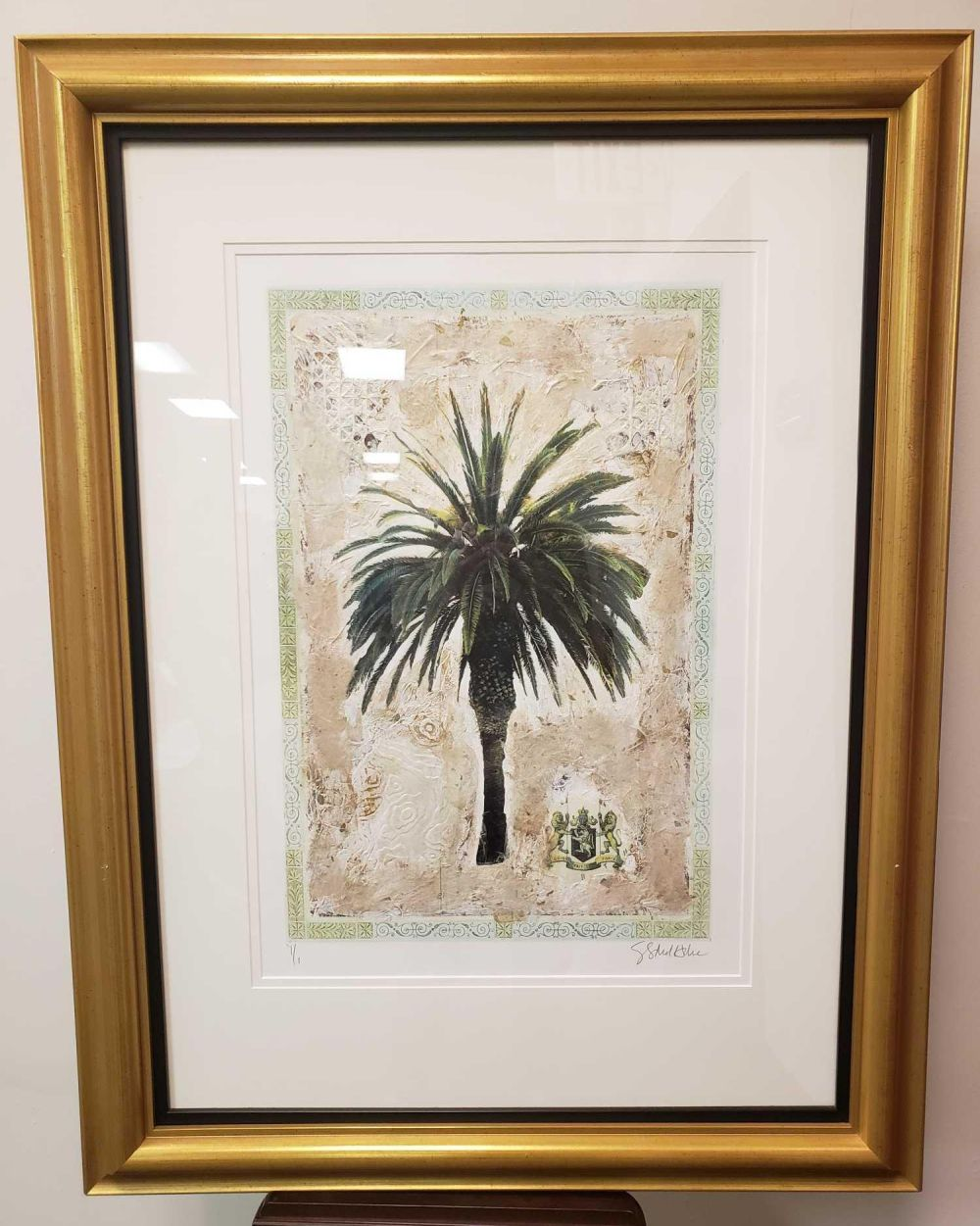 Lot 914: Starlie Sokol Hohne Palm Tree II Original Mixed Media Artwork