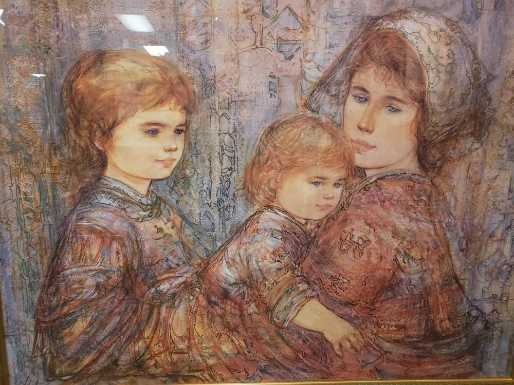 Lot 920: Edna Hibel Family by the Zuider Zee Lithograph