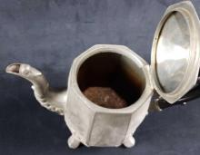 Lot 940: Set of Pewter Plate Footed Teapot and Pitcher