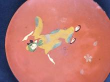 Lot 943: Vintage Hand painted Red Lacquer ware Plates