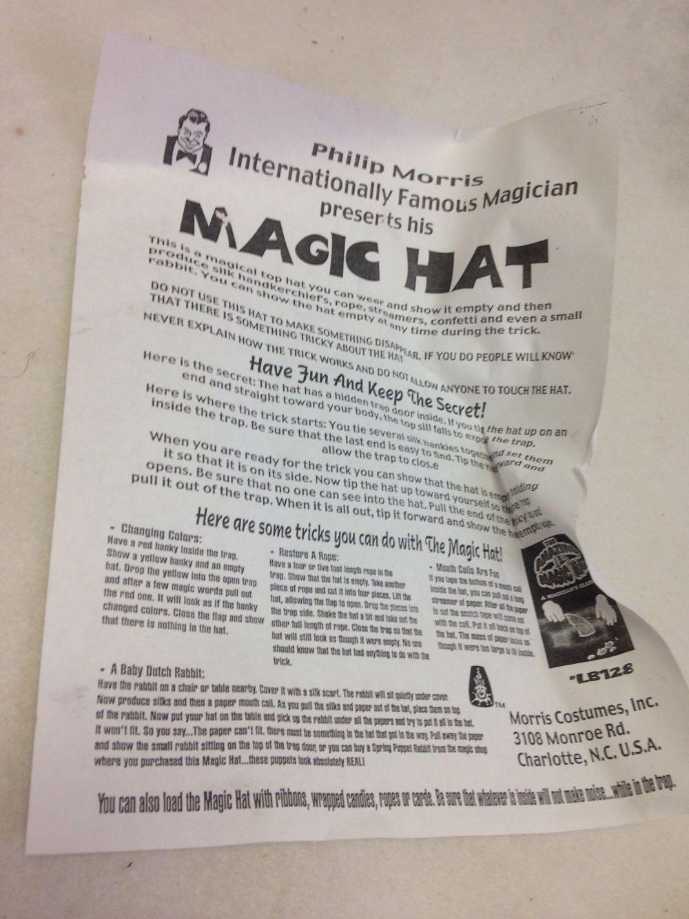 Lot 964: NOS-Halloween Trick- Magic Hat