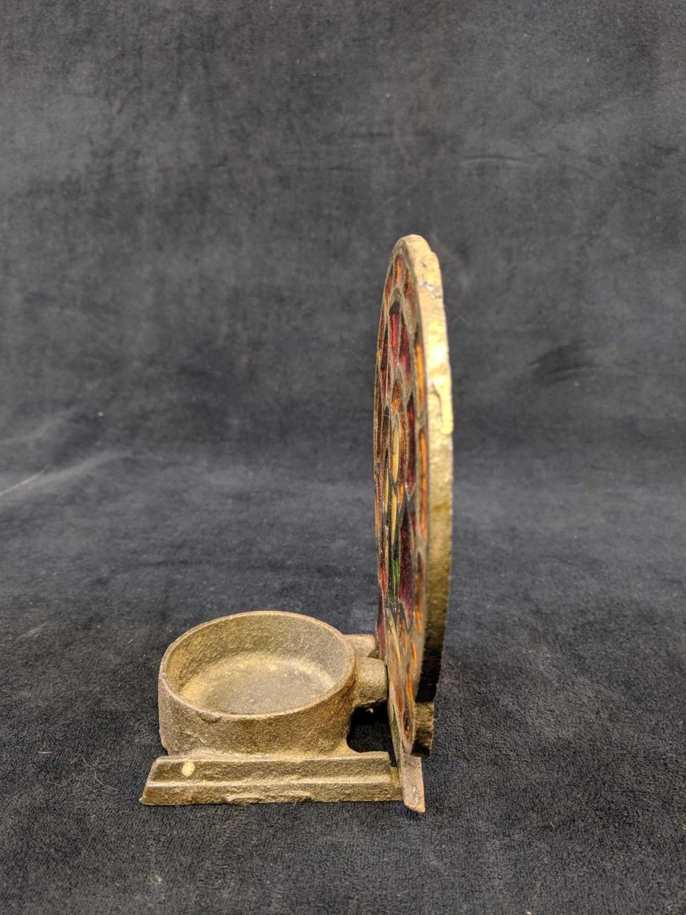 Lot 966: Vintage Cast Iron Stained Glass Tealight Holder