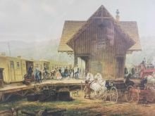 Lot 967: The 945 AM Accomodation Stratford Connecticut by Edward Lamson Henry Framed Painting Print