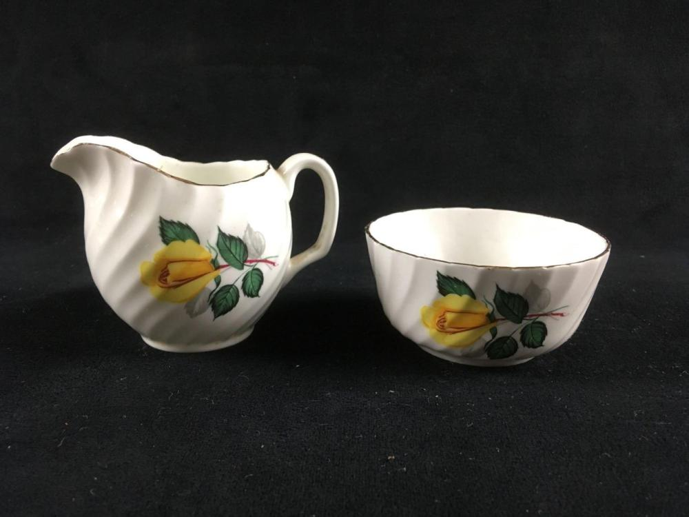 Lot 985: Vintage Royal Adderley Bone China Creamer and Sugar Bowl