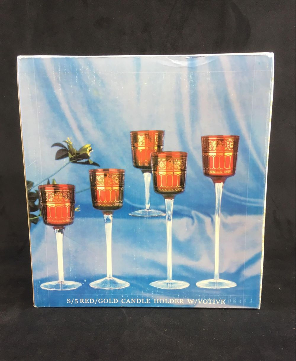 Lot 991: Set of 5 Long Stemmed Red with Gold VotiveCandle Holders, New Old Stock