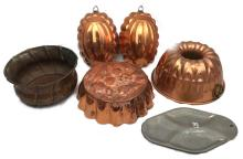 Lot of Tinned Copper Bowl, Copper Toned Baking/Jello Molds and an Aluminum Serving Tray