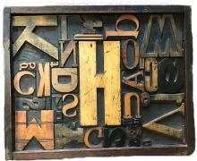 Mid-Century LetterPress Block Wall Sculpture