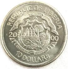Republic Of Liberia 10 Dollar Coin 2000 Millenium