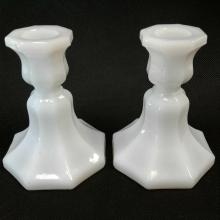 2 Milk Glass Candle Holders