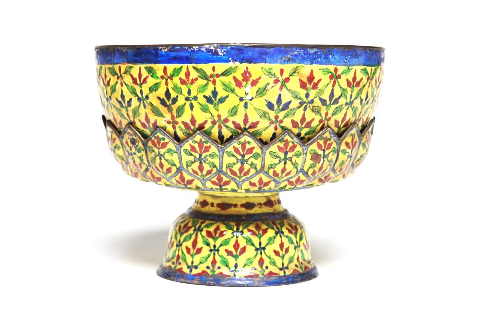 An enameled bowl with a lotus petal shaped stem tray,each item is decorated with Trellis And Rice design on a yellow ground