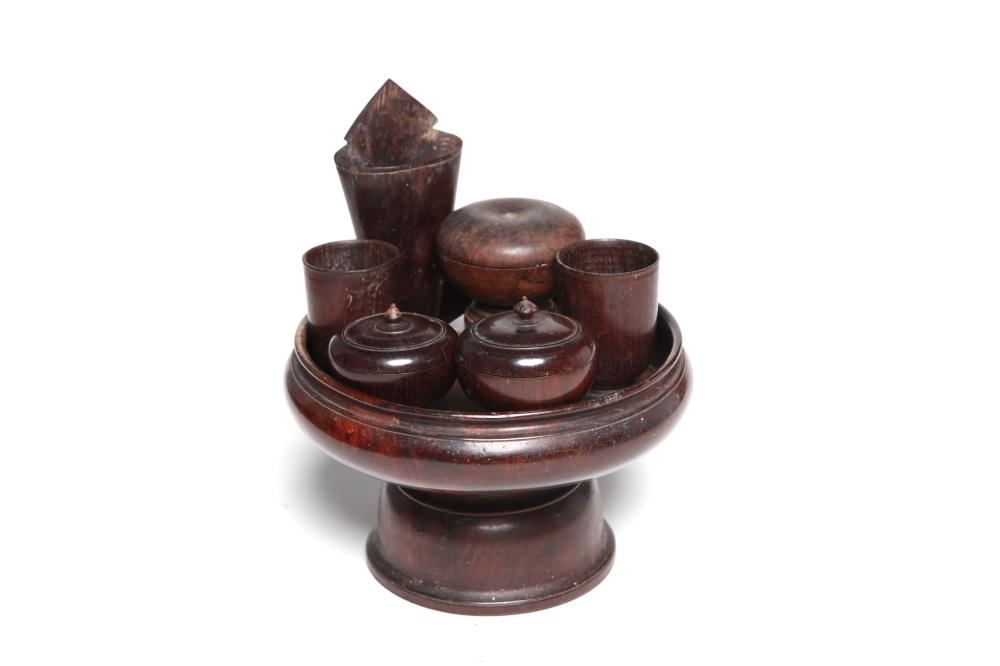A wooden betel nut set