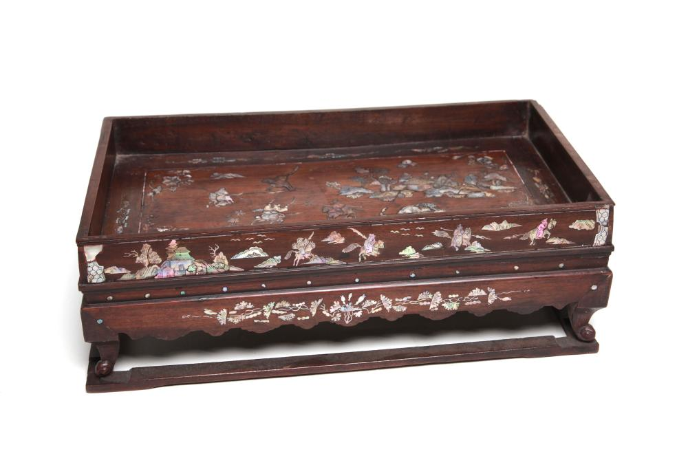 A Large Wooden Tray Decorated With Mother of Pearl Inlaid With Warriors
