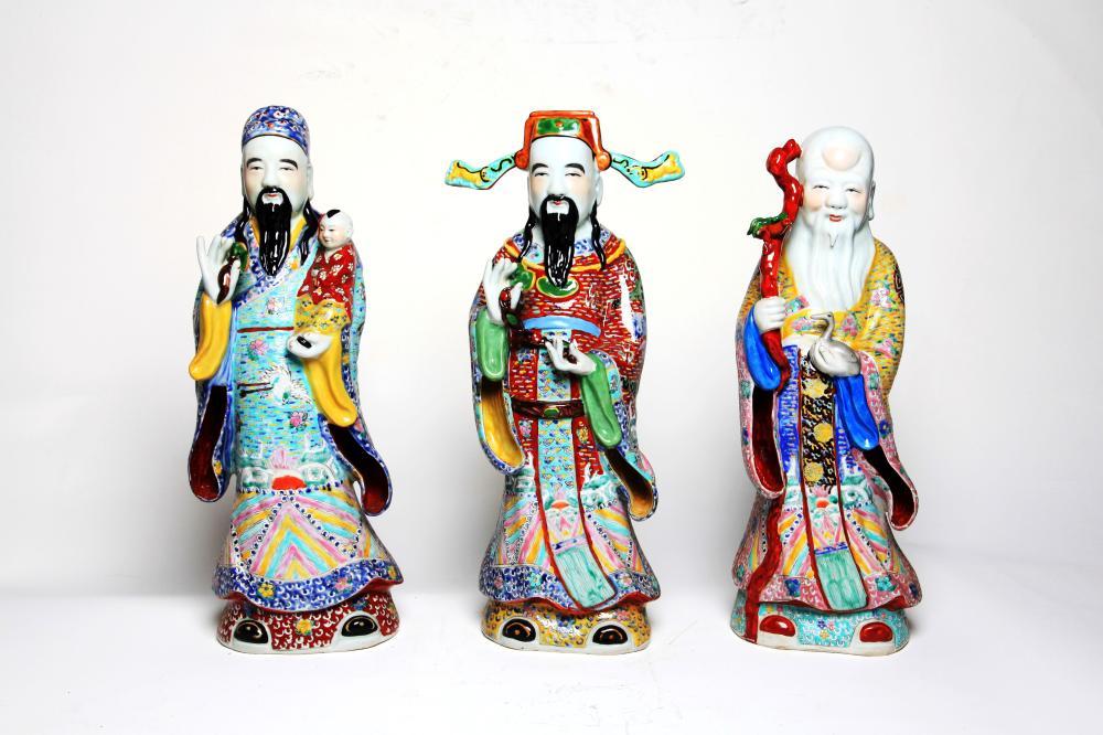 A set of polychrome porcelain figures of Fu-Lu-Shou(Decorative art)