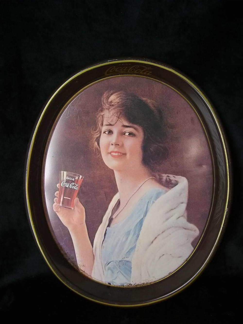 "Original Oval Coca Cola Tip Tray - Litho - ""Girl Drinks from Glass"""