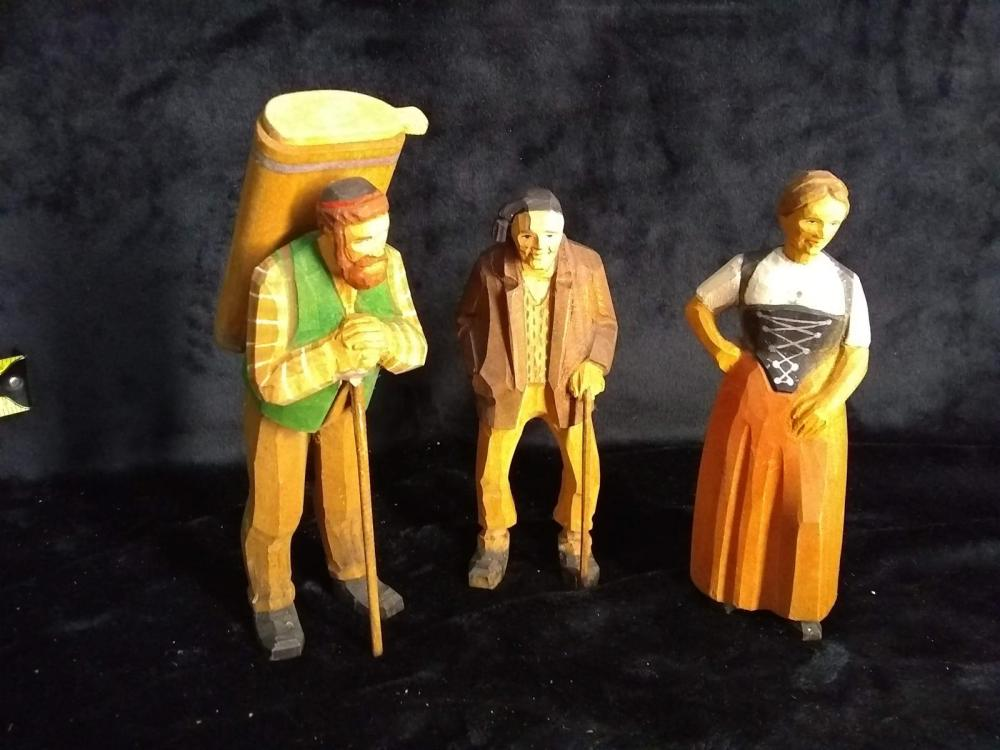 Collection 3 Hand carved & Painted Figures - Israel Souvenir