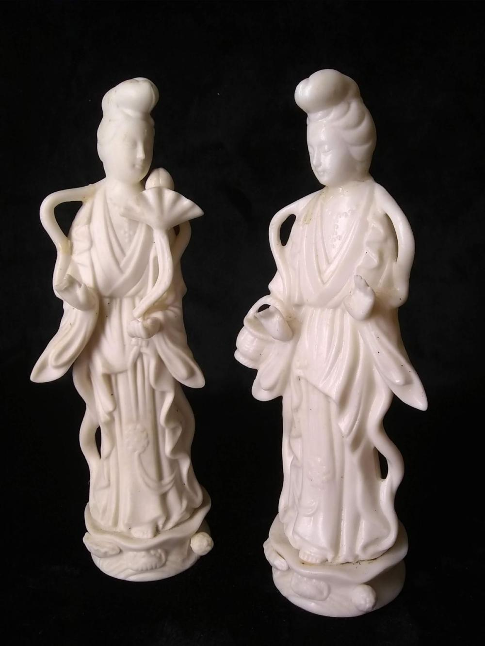 Pair Inarco Bisque Porcelain Oriental Ladies