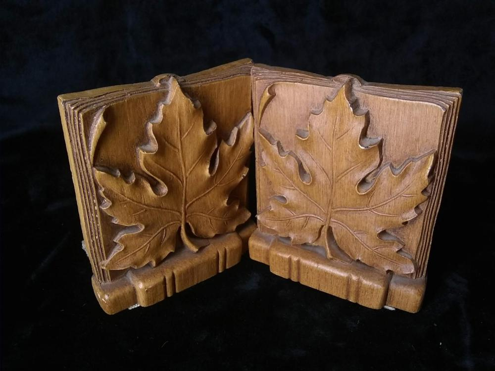 Pair Maple Leaf Bookends
