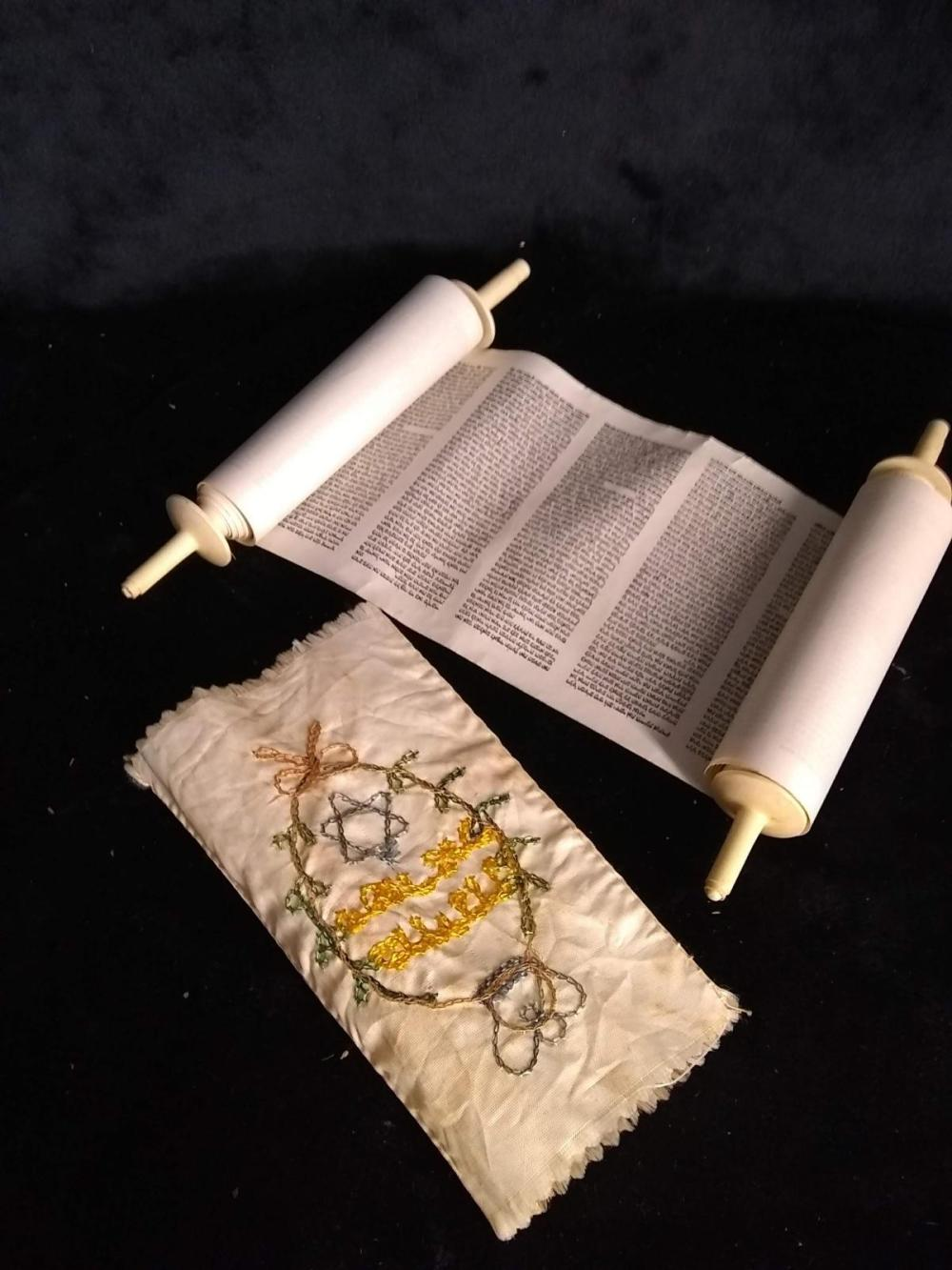 Souvenir Greek Cloth Scroll w/ original Box
