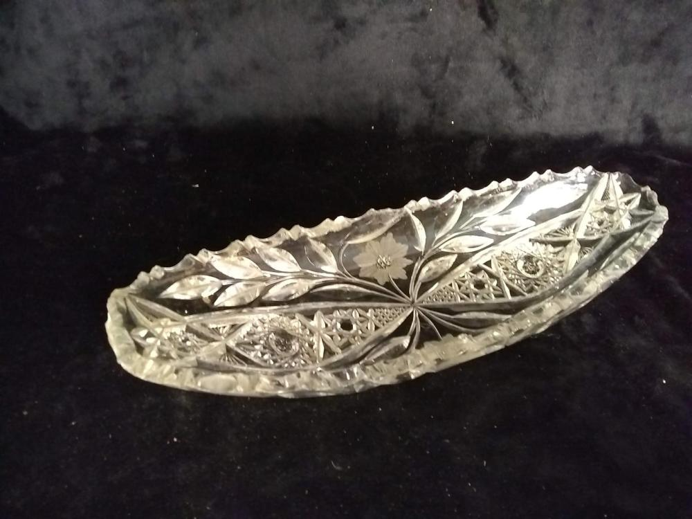 Etched Crystal Asparagus Tray