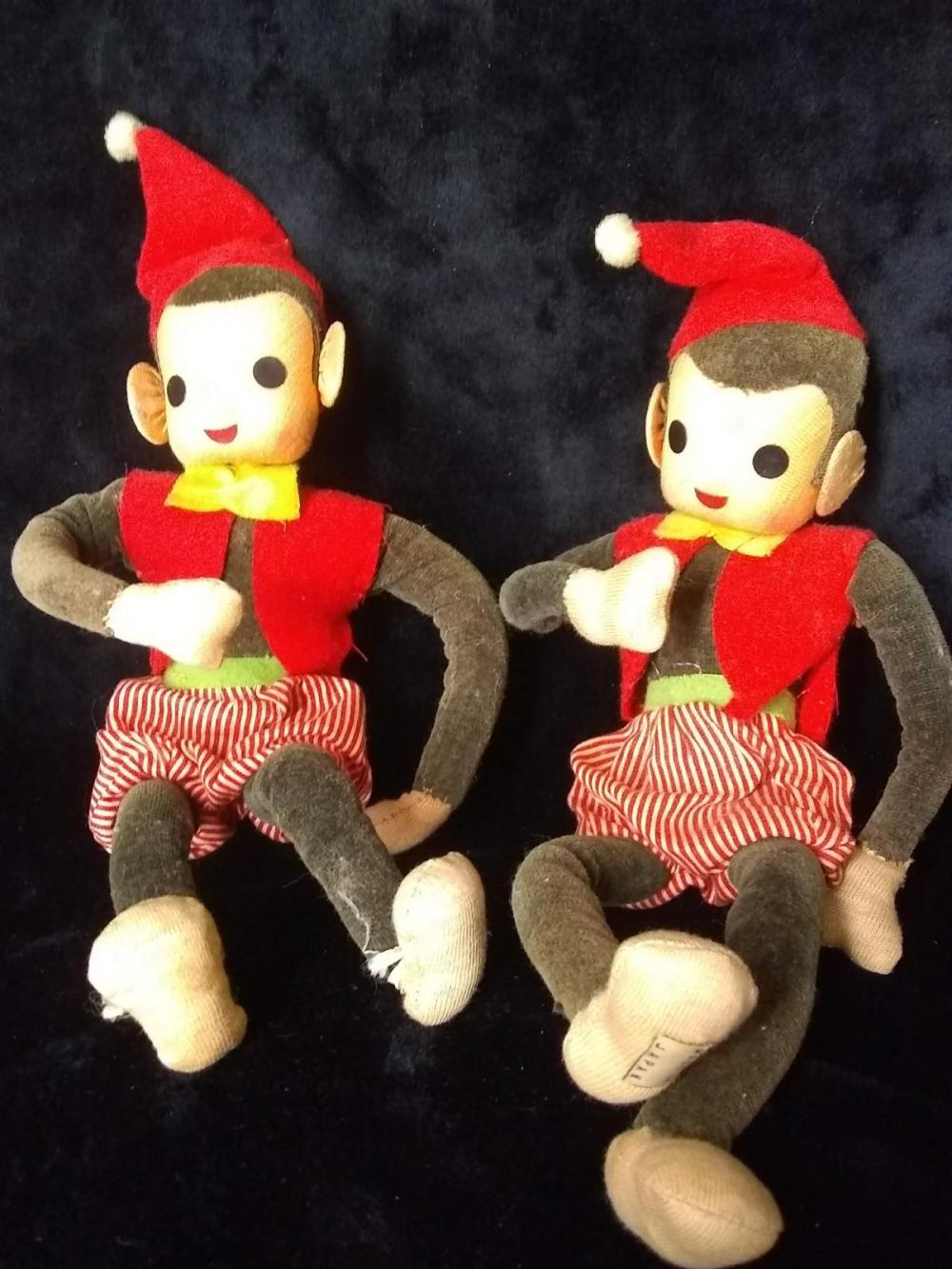 Pair Vintage Japan Cloth Monkeys