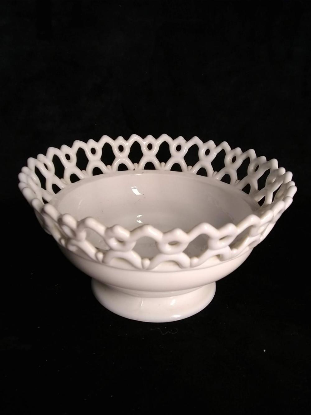 Vintage Milk Glass Bowl w/ Reticulated Top