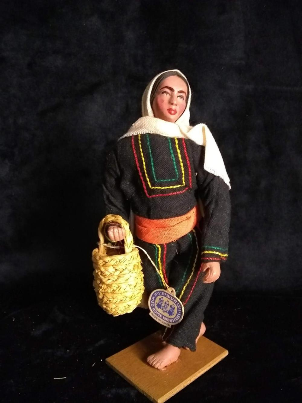 Early Greek Cloth  Doll w/ native outfit - Lady w/ Basket