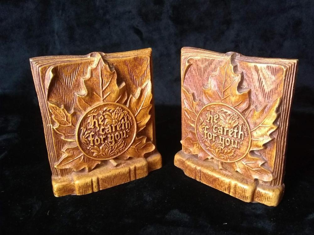 "Pair Bookends ""He Careth For You"""