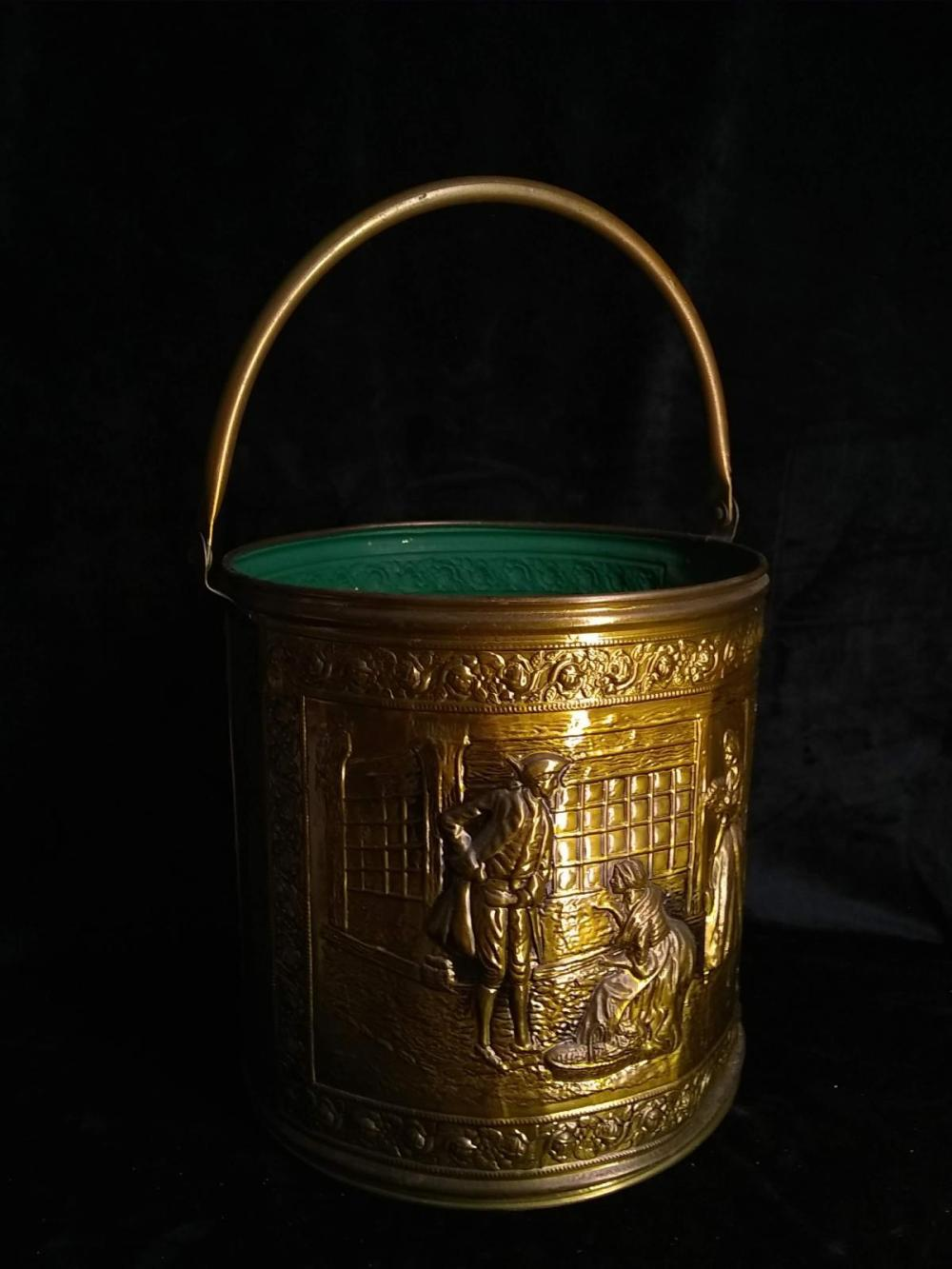 Vintage Brass Handled Bucket w/ Raised Relief