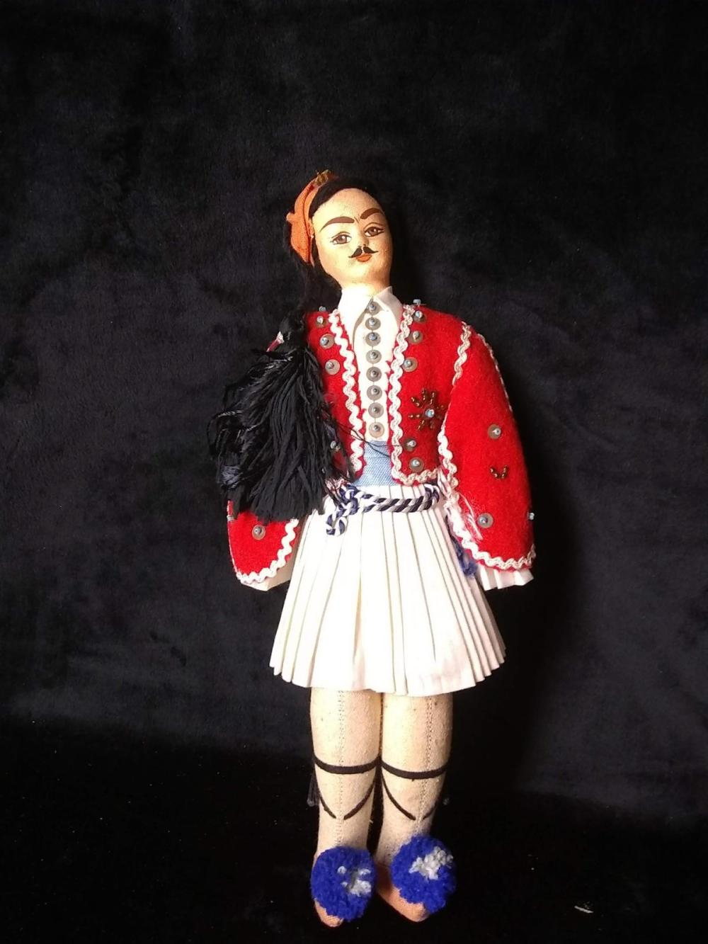 Early Israeli Cloth Body Doll - Man in Uniform