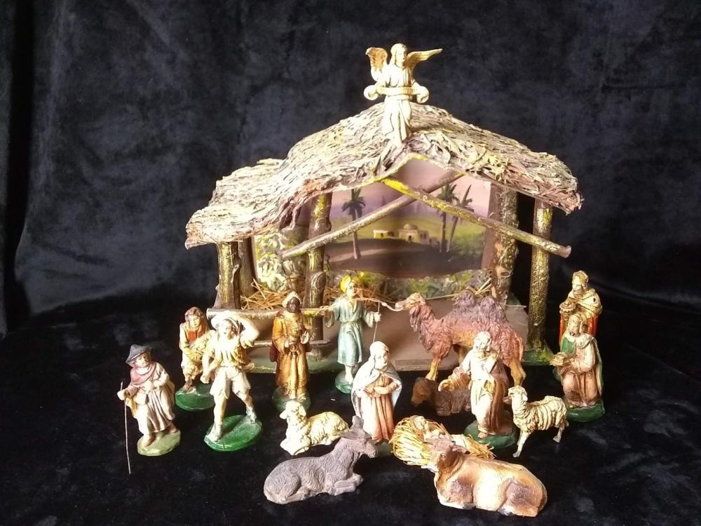 Original Italian Creche with Nativity Figures - Travel memento form Bethlehem