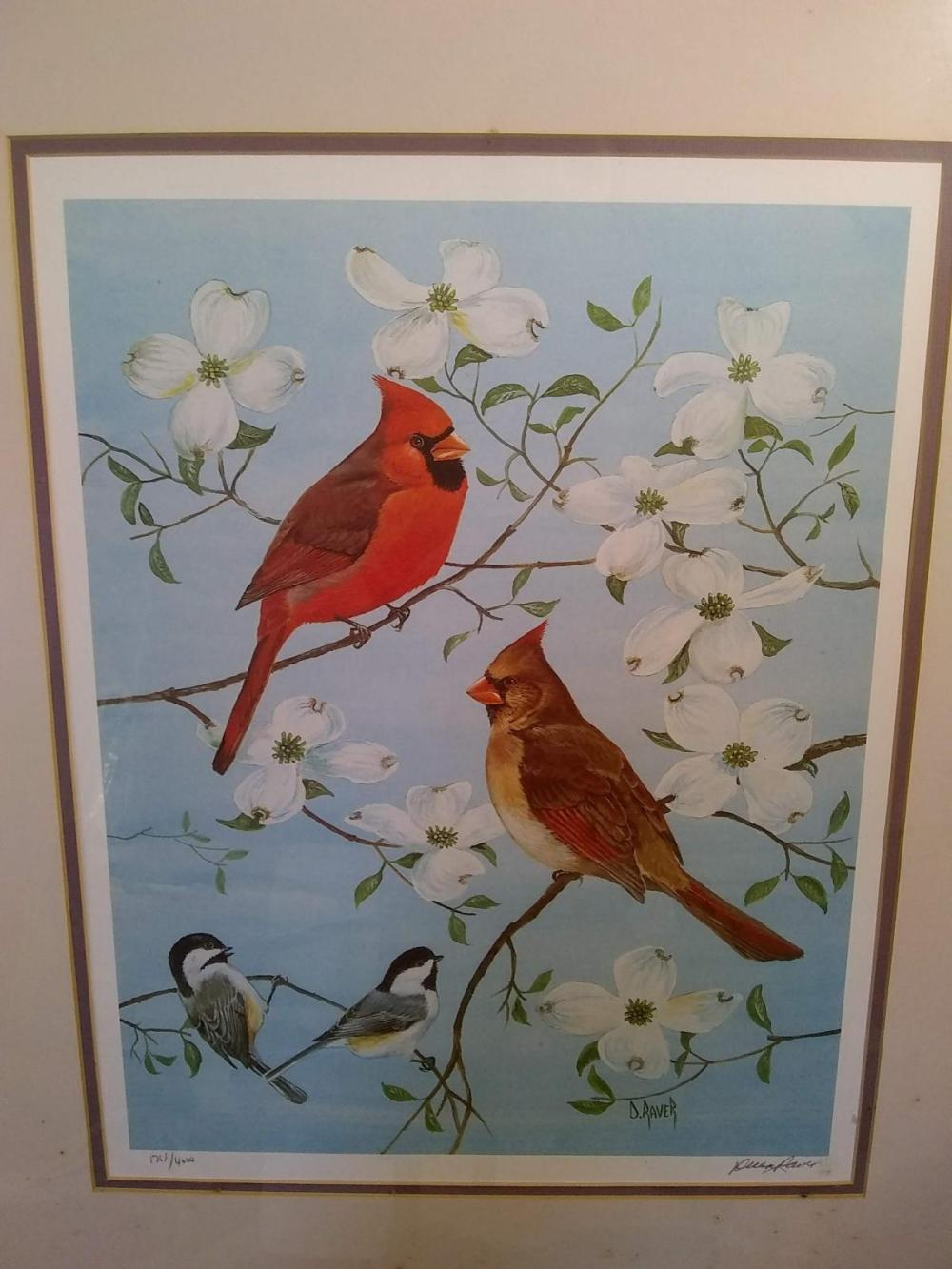 "Framed Print -""Cardinals"" Signed - 1761/4000"