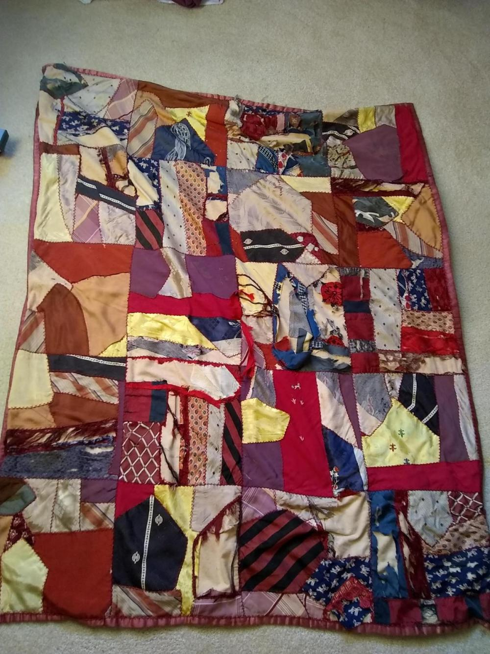 Early Baby Crazy Quilt  w/ silk backing & with damage