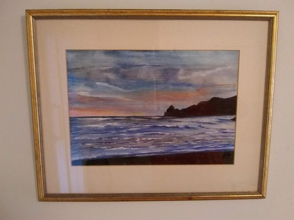 Framed Watercolor - Seascape