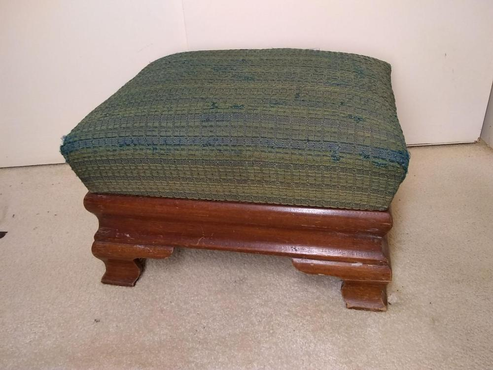 Vintage Chippendale Upholstered Foot Stool