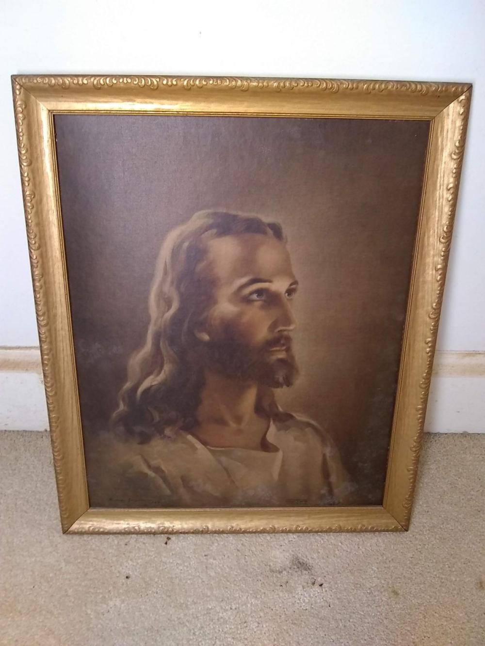 Vintage Framed Print on Board - Jesus