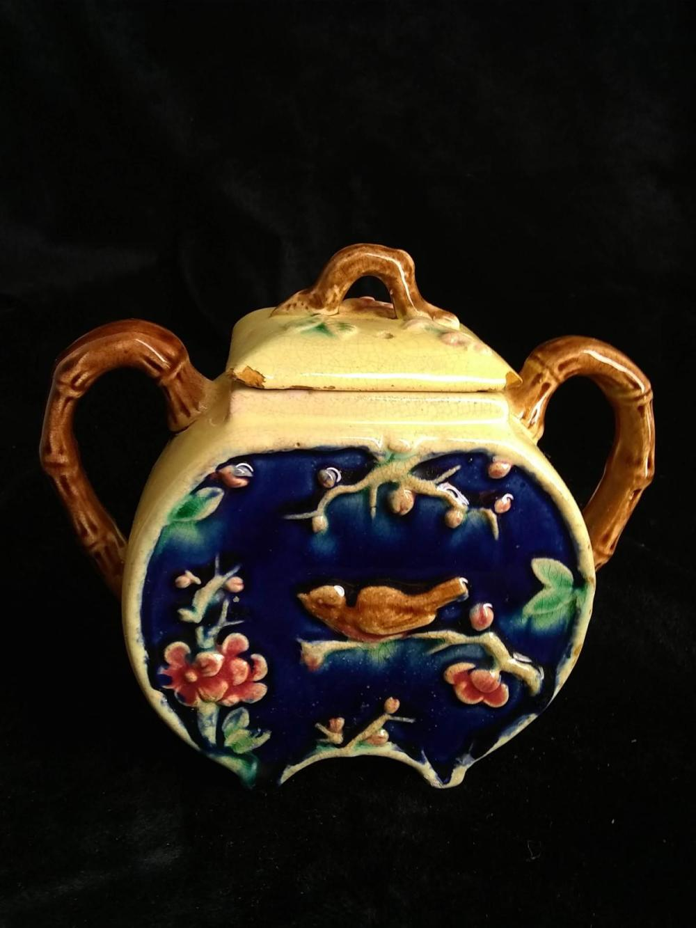 Hand painted Glazed Double Handled Sugar - Japan