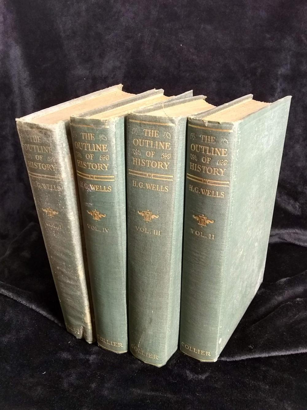 "Vintage Book Set - ""The Outline of History - H.G. Wells - 1922 - 4 books set"