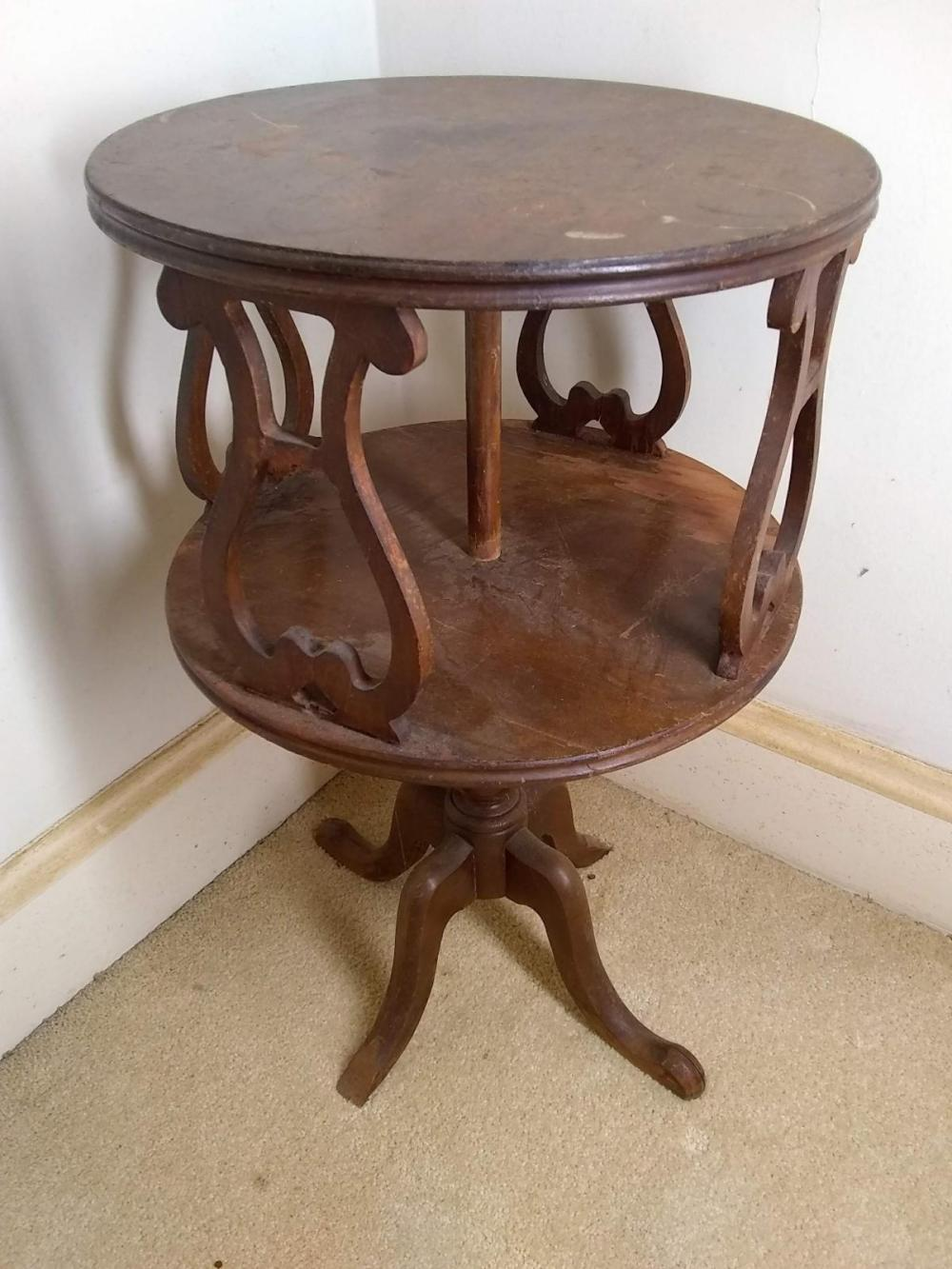 Vintage Mahogany Two Tiered Table w/ Harp Accents