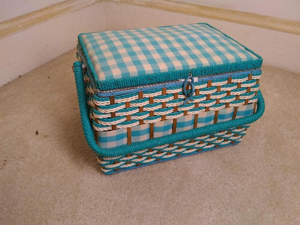Wicker & Padded Sewing Basket w/ Contents