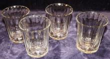 Collection Of 4 Crystal Heisey Ribbed Glasses