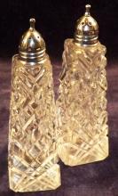 Pair Of Crystal Salt & Pepper Shakers