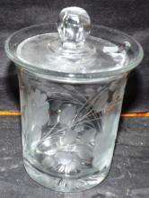 Crystal Heisey Etched Condiment Jar