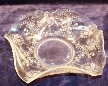 Imperial Crystal Ruffled Edge Etched Bowl
