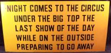 Vinyl Circus Poem Plaque