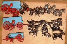 Box Lot-Custom Balsa Wood Blue Carriages With Horses