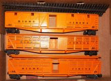 Box Lot-Three Custom Balsa Wood Circus Boxcars With Track
